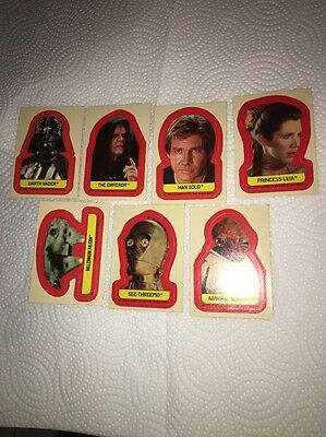 7 Star Wars Return Of The Jedi Trading Card Stickers Collection, See Photos.