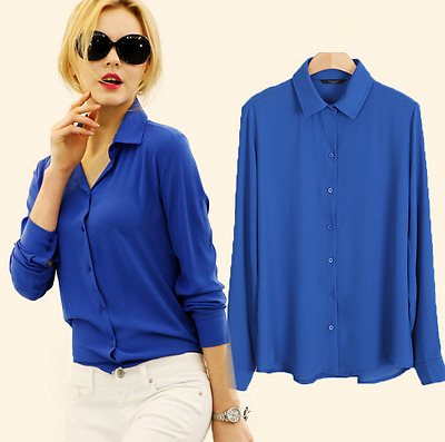 Women's Long Sleeve Chiffon Shirt Solid Color Party Large Size Loose Shirt