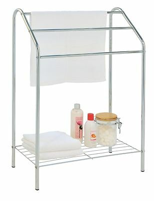 EHC Chrome Floor Free Standing Towel Rail Stand Holder With Shelf