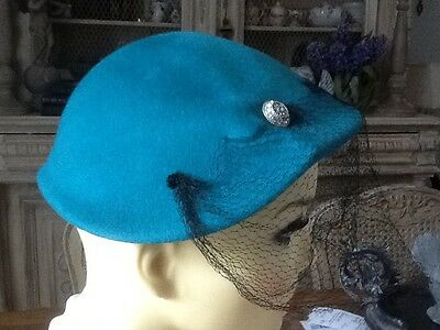 TUE VINTAGE AMERICAN TURQUOISE HAT 40s