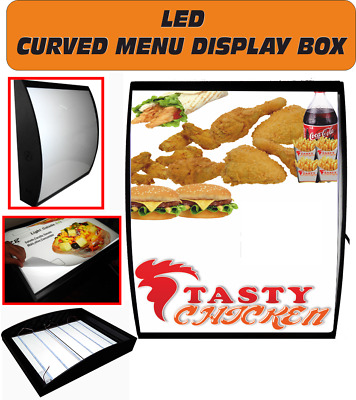 LED Curved Menu Box Illuminated Board Sign Restaurant Take away 50 x 60 cm