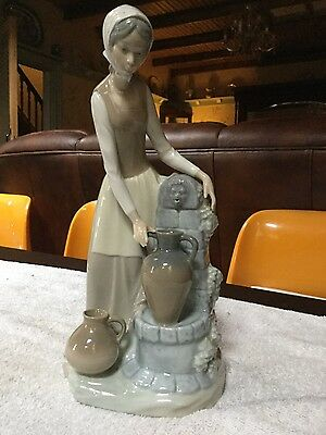 Lladro Nao Lady Figurine at Water Fountain with Urn/Jugs