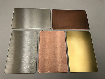 ALUMINIUM, COPPER, STAINLESS STEEL + BRASS Business Card Blanks Wallets Etching