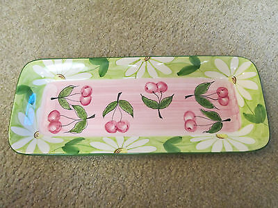 FAVANOL rectangular serving dish-platter w/ cherries and daisies in pinks & gree