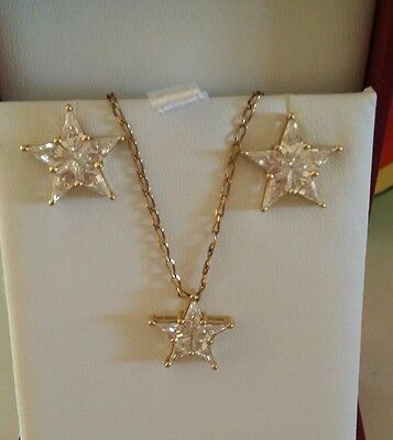14ct Gold Diamond Simulant Star Earrings  Studs and Pendant Set with  9ct Chain