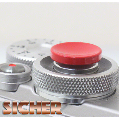 SICHER Soft Release Shutter Button for Cameras. Quality Brass. RED Concave.