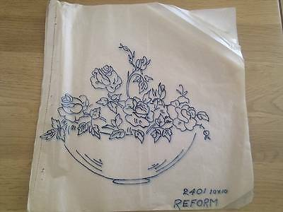 Beautiful Vintage Embroidery Transfer - BOWL of ROSES  - Design for tablecloth