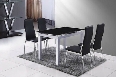 Extendable Dining Table :: Tempered BLACK Glass Top on SILVER GREY Frame