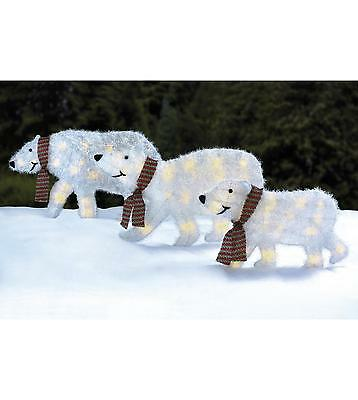 3 White Tinsel Polar Bear Christmas Silhouette Clear Lights Outdoor Decoration