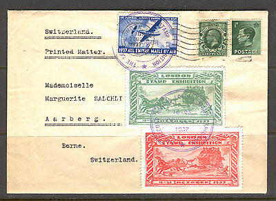 JAP K11 Great Britain 1937 Exhibition Cover used Aviation Plane