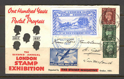 JAP K10 Great Britain 1937 Exhibition Cover Addressed Plane Aviation