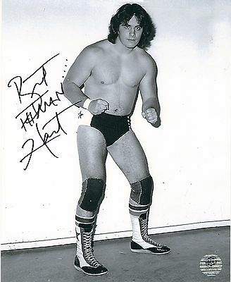 Bret 'Hitman' Hart RARE Young Stampede Wrestling Autographed 8×10 Photo W/COA