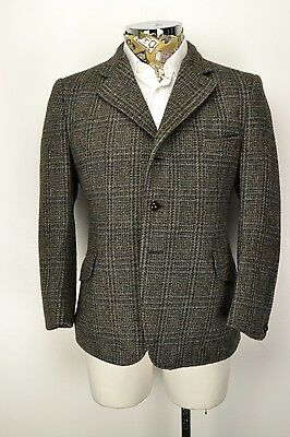 "44"" Short Dunn & Co Harris Tweed 3 Button Jacket Grey Blue Check"