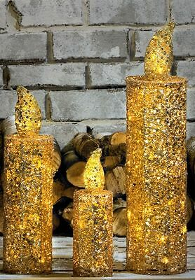 Outdoor Set of 3 Large Gold Glitter Candles Christmas Decoration LED Lights
