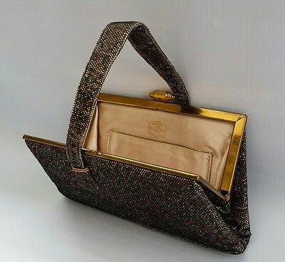 Vintage 1950s WALDYBAG Ladies Black Evening Bag Handbag Glitter & Lace Clutch