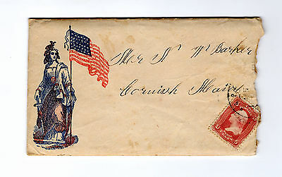 Civil War Patriotic Cover with letter from soldier in Washington D.C. Hospital