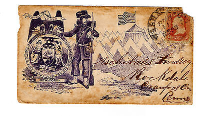 Civil War Patriotic Cover with Seal of New York and Militia soldier (used) with