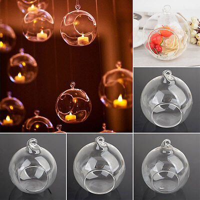 Glass Round Hanging Candle Tea Light Holder Candlestick Vase Party Home Decor
