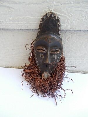 """Vintage African Wooden Mask Carving 13"""" X 5"""" ( Wood 9"""" X 4,5"""" )"""