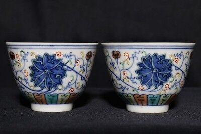 "Pair of Antique Chinese ""DouCai"" Painting Porcelain Cups Marked GuangXu FA395"