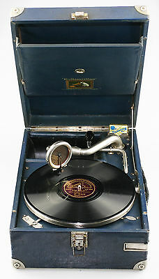HMV 101 BLUE Portable Picnic Gramophone c.1929 - Fab Working Condition (KZ50)