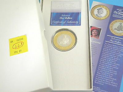 BAHAMAS - 2000 SILVER PROOF $2 CROWN COIN c/w Certifiate & Original RM Box
