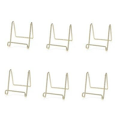 """4"""" Gold Small Plate Display Stand Easel Twist Wire lot of 24pcs Wholesale"""