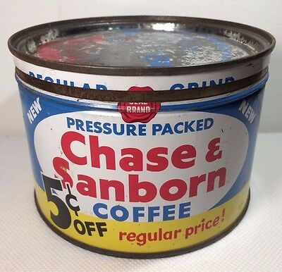 Vintage Chase & Sanborn Regular Grind 1 lb. Coffee Tin Can 5 Cents off