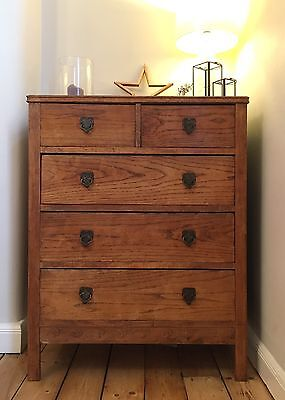 Antique Oak Chest Of Drawers Arts Crafts Art Deco Wooden Wood Vintage Trunk