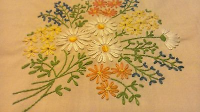 """Vintage Supper Tablecloth Hand Embroidered Flowers Bouquets EXCELLENT 78"""" x 58"""""""