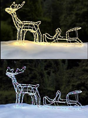 Outdoor Multi Colour LED Warm White Rope Light Up Reindeer Sleigh Christmas