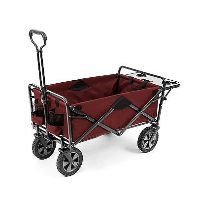 Folding Wagon Red Fold Up W/Table Travel Cart Beach Camping Zoo Fireworks Kids