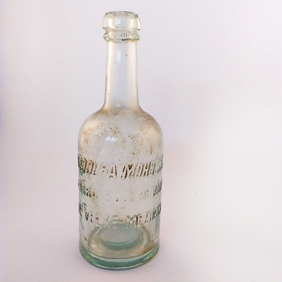 COLLECTIBLE ANTIQUE OLD GLASS BOTTLE  with EMBOSSED Letters, Cca 1940