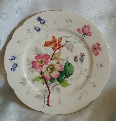 Beautiful antique handpainted flower plate with scalloped rim victorian