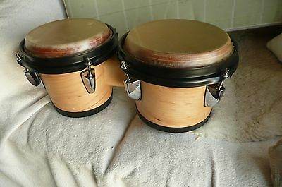 Wooden Bongo Drums 7 Inch And 8 Inch With Cow Skin Heads