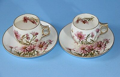 Antique GEORGE JONES Porcelain 2 x  Demitasse cups and saucers c1873