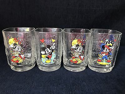 Walt Disney World& McDonalds Promo Mickey Mouse Glasses Set Of 4