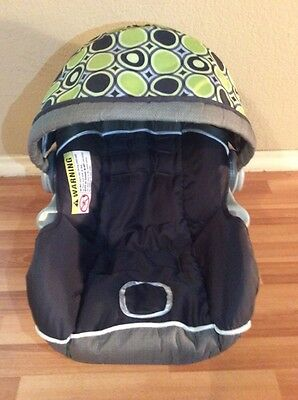 Baby Trend Ez Loc Infant Car Seat Cover Cushion Canopy Part Set Black Green Gray