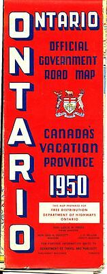 Vintage 1950 Official Ontario Government Road Map