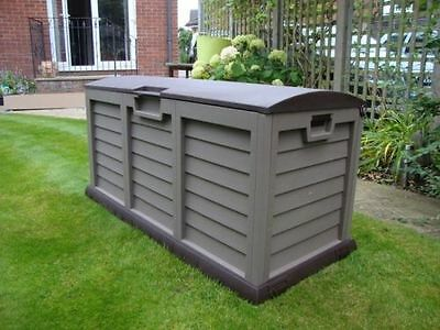 Plastic Garden Storage Box Lockable Waterproof Wheels Large Shed Outdoor Garage
