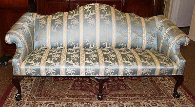Best Ever Scalamandre Silk Chippendale Camel Back Sofa Claw Feet Comfortable!