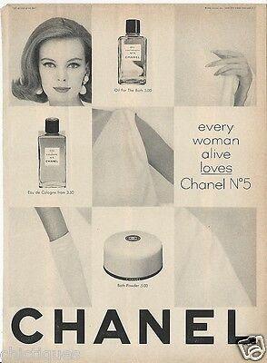 1963 CHANEL No 5 Perfume EVERY WOMAN ALIVE Loves It Vintage Fragrance Print Ad