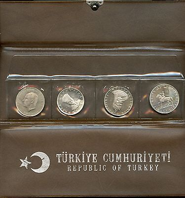 1960 - 1972 Republic of Turkey 4 Coin Silver Proof Set - Collection - SZ018