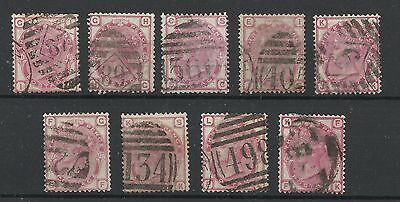A Set of 1873/80 Sg 143/4, 3d Rose Issues, Plates 11-20, Good used.