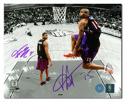 Vince Carter & Tracy McGrady Toronto Raptors Dual Signed Slam Dunk 8x10 Photo