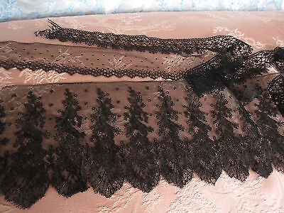 Antique Lace Black Chantilly Dotted Net Crochet French Doll Dress Trim Lot