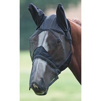 Black full face with ears fly mask,  zip off nose Sheldon