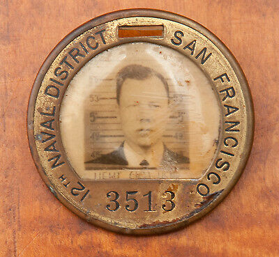 Ww2 White Head Brass I.d Badge For The 12Th Naval District San Francisco