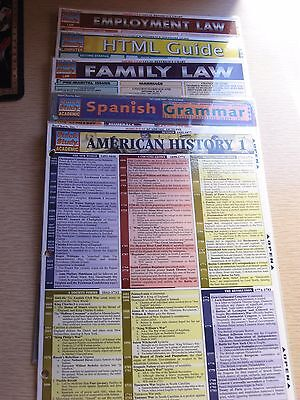 Lot of 5 Quick Study BarCharts History, Spanish, HTML, Family & Employment Law