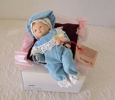 "Show Stopper Inc ""Little Bit"" Baby Boy on Pillow Porcelain Dolll New"